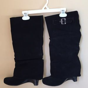 Naughty Monkey black suede leather boots